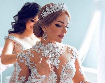 Bridal,Tiara with Earrings,Crystal Tiara,Swarovski Tiara,Crystal Wedding Crown,Rhinestone Tiara,Wedding Tiara,Diamante Crown,Silver Crown