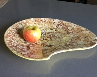 Amoeba-Shaped, Freeform, Ceramic Dish - Shallow Bowl for the Kitchen Counter? Hip 1970s Colors.
