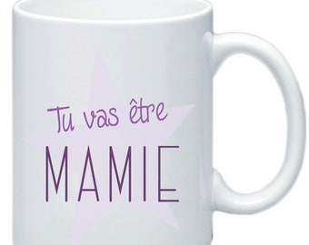 Mug, pregnancy announcement, you're going to be Grandma, baby, birth, customizable #1