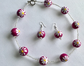 Chunky pink flower bead necklace with matching earrings