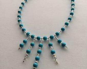 Beaded Blue choker necklace