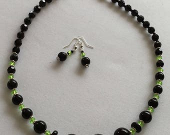 Black and lime beaded necklace