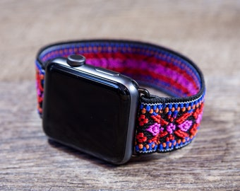 Red Woven Ethnic Patterned Stretch Elastic Apple Watch Band - 38mm / 42mm