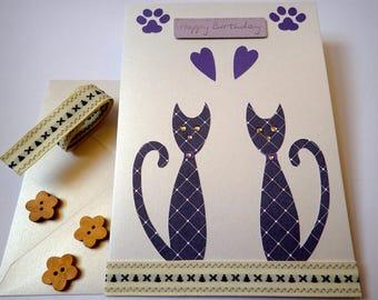 Handmade Cat Birthday Card - Birthday Card - Blank Greeting Card - Cat Greeting Card - Handmade Cat Greeting Card - Cat Birthday Card