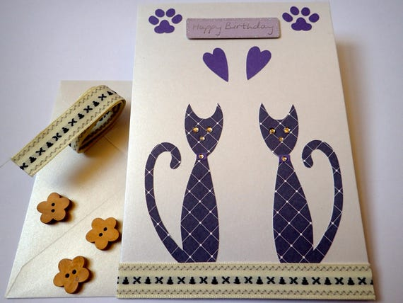 Handmade Cat Birthday Card Cards Lovers