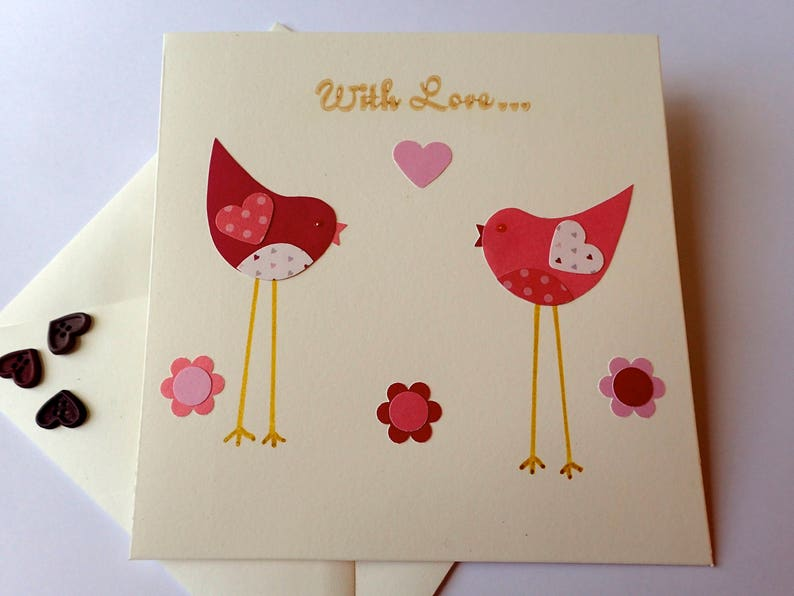 Handmade Bird Greeting Card Blank Cards Cute Love