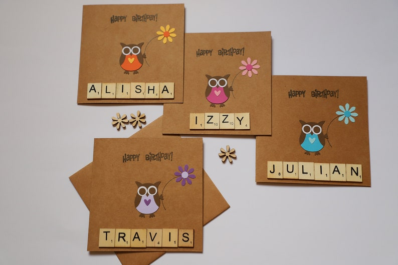 Handmade Personalised Owl Birthday Card Custom