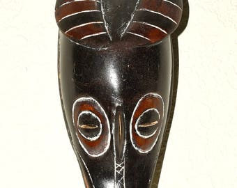 Hand Carved Wooden Zambele Mask from Ivory Coast  - West African Wood Carving - A399