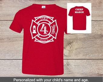 62d4313a6 Fire Chief, Fireman Firefighter Chief Birthday Shirt, Kids Birthday Shirt