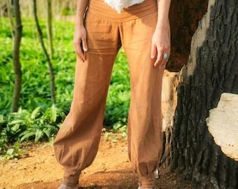 Womens Ladies New Nala Rose Print Floral Linen Harem Hippy Boho Trousers Pants