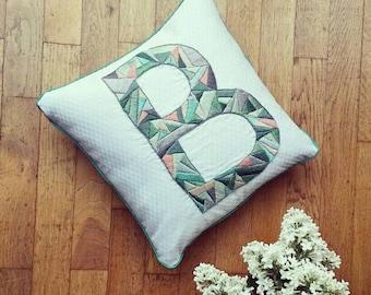 Embroidered pillow alphabet customizable