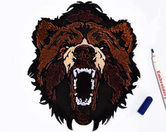 Bear patch Embroidered patch Angry bear Iron on patch Large patch Grizzly patch Brown bear Animal patch Grizzly bear Patch badge ED9027