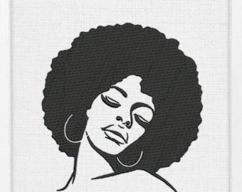 African Girl Patch Afro Woman Iron On Patch Mysterious Girl Patch Black Girl Magic Patch Hoop Earrings Clothing Decoration Embroidered Patch