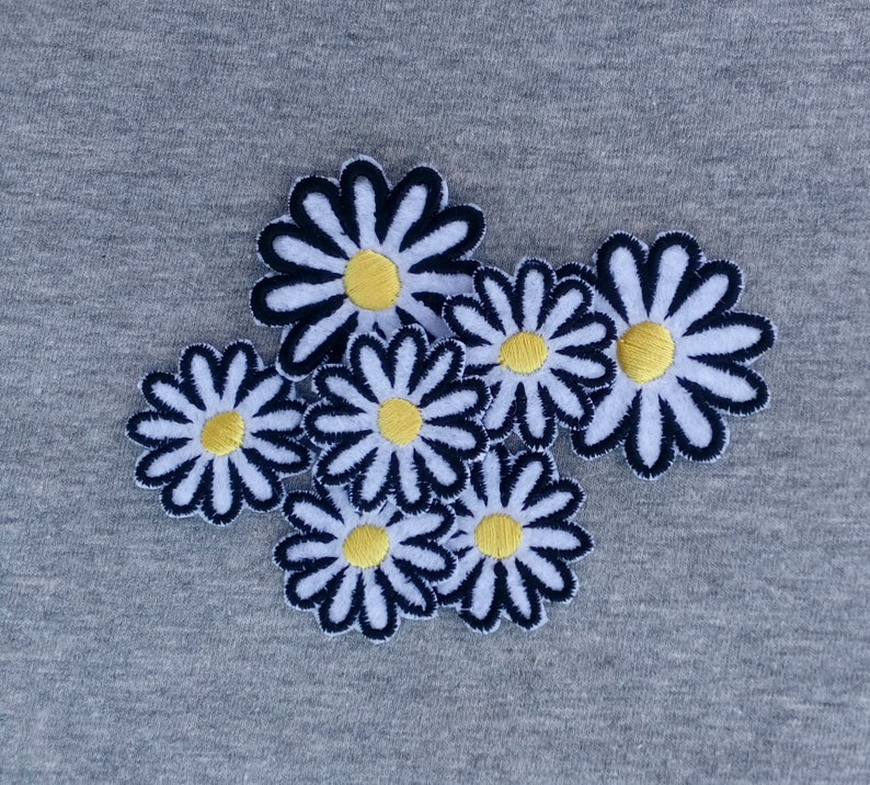 8a97c73c9c4cf Chamomile Small Flower Patch Iron Patches Floral Pretty Patches Daisy Patch  Sew On White Flower Embroidered Patch Wildlife Patches ED9179