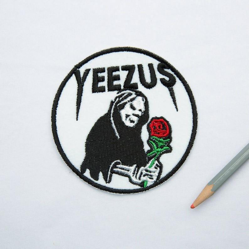 92fa8a531146c Yeezus death I feel like Pablo patch Embroidered patch Yeezus patch Kanye  West patch Yeezy patch Flower patch Iron on flower patch ED9060