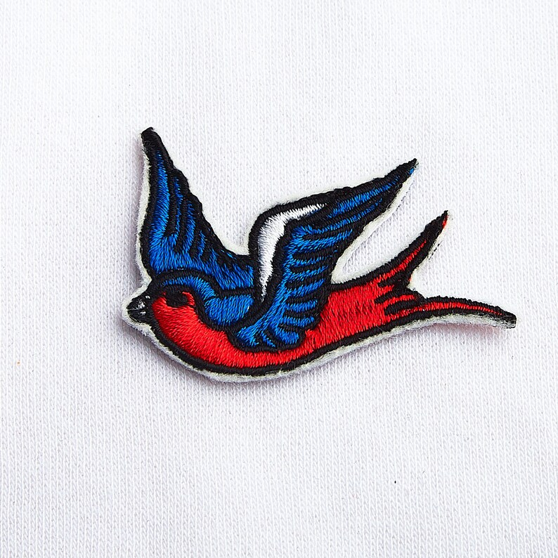 3f39e3033448e Swallow Patch Iron On Girly Patch Rockabilly Bird For Denim Jacket Custom  Bird Lover Patch Embroidered Swallow Birds Embroidery ED9071
