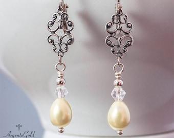Edwardian Ohrringe Elfenbein Perle Ohrringe Tudor Ohrringe