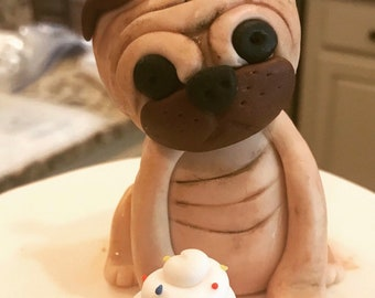 Fondant Dog Pawty Cake Topper Pug Cupcake Themed