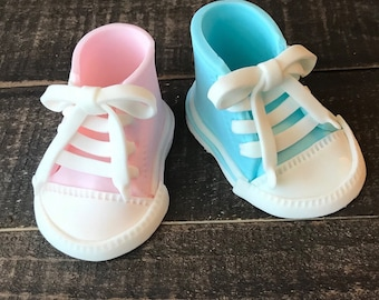 12e5089d5160 Baby Converse Fondant Cake Topper Baby Shower Birthday Baby Shoes Edible  Hand Made