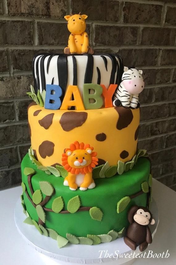 Wondrous Safari Birthday Baby Shower Cake Toppers Fondant Monkey Etsy Funny Birthday Cards Online Alyptdamsfinfo