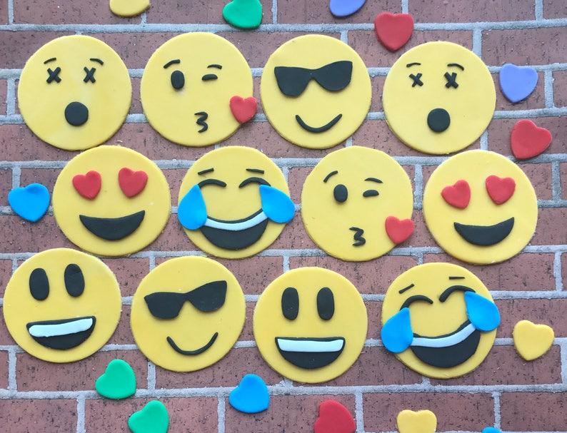 Emoji Fondant Cupcake Toppers Cake Set Birthday