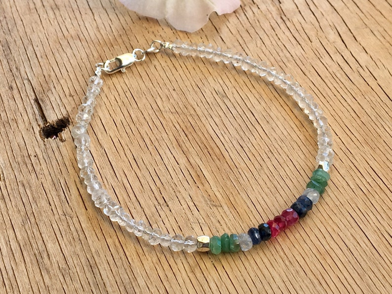 heart and throat healing bracelet Multicoloured Sapphire bracelet with Ruby and Emerald gemstone root chakra chakra bracelet crystal