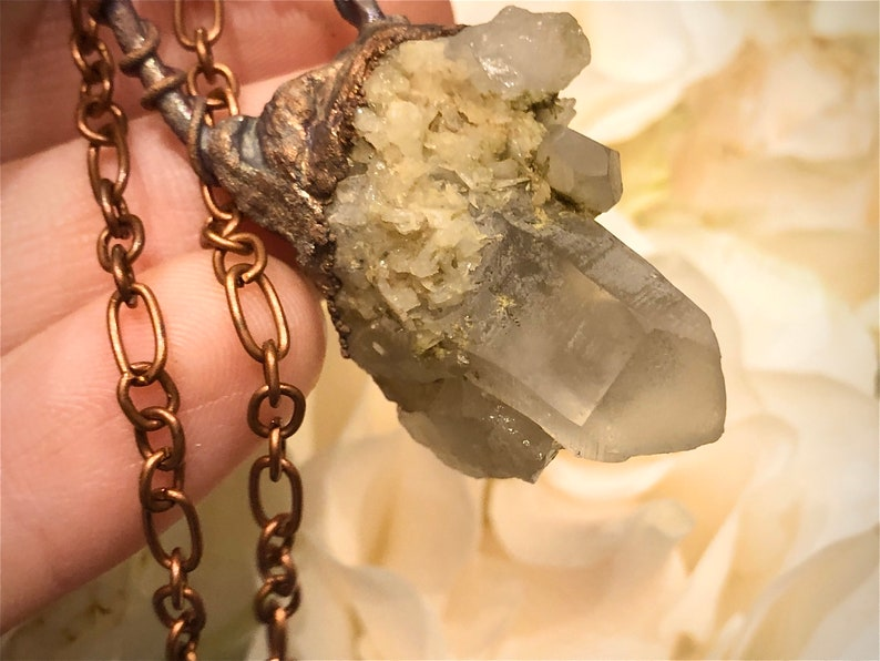 April Birthstone Clear Quartz Specimen Crown Chakra Point Crystal Quarts Pendant Necklace Electroformed
