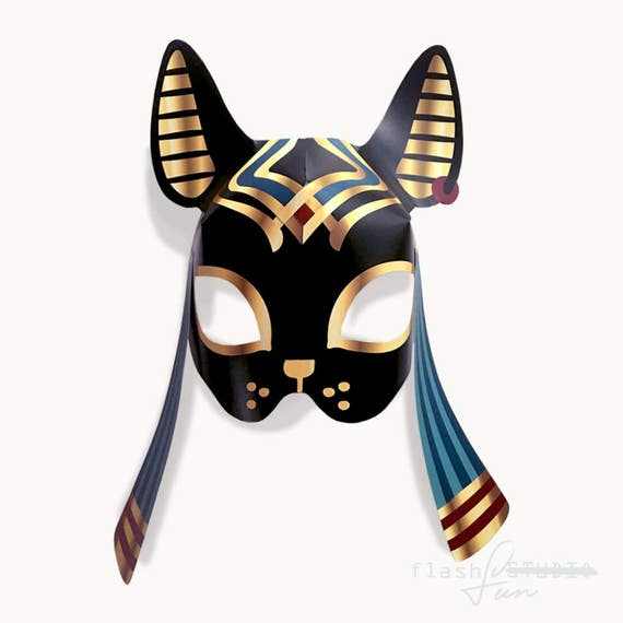 Printable Mask Paper Template Cat Party