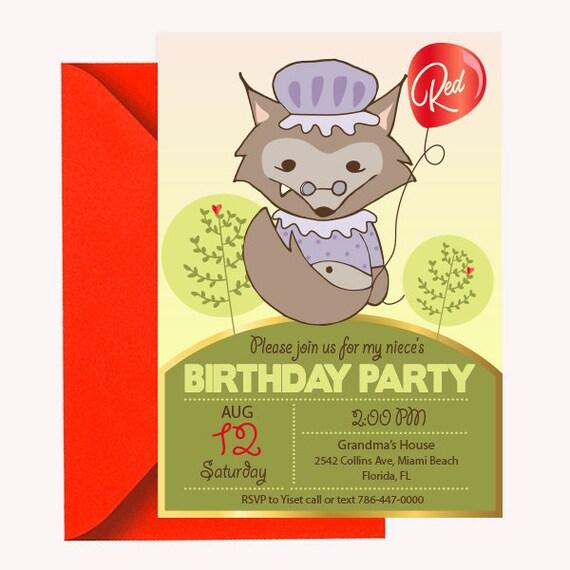 Printable little red ridding hood invitation card cute girl etsy image 0 filmwisefo