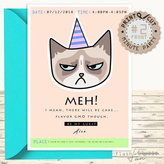 Printable Grumpy Cat Invitation Card Boyfriend Funny Surprise Etsy