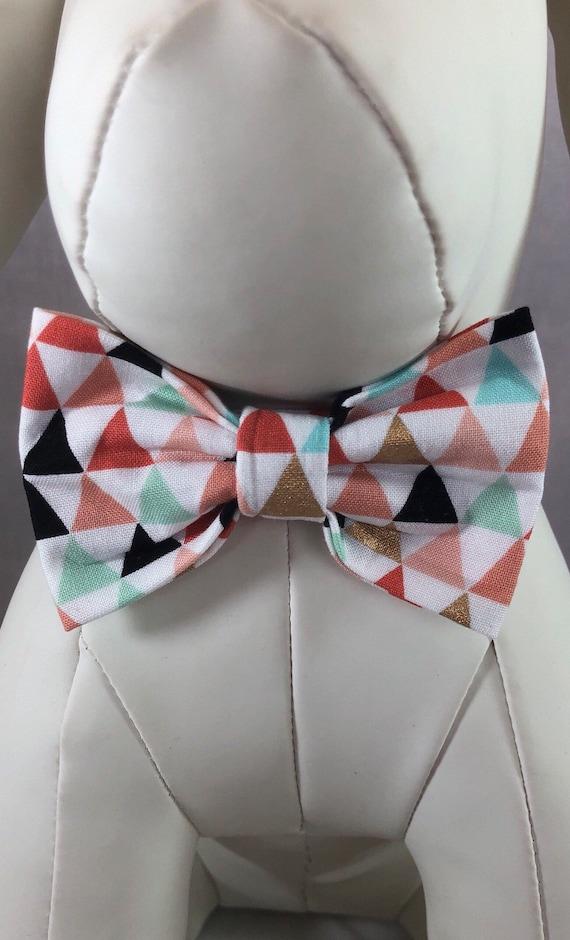 Corail, pêche, or, Aqua et menthe Kaléidoscope cravates & colliers pour chiens, navire gratuit USA.