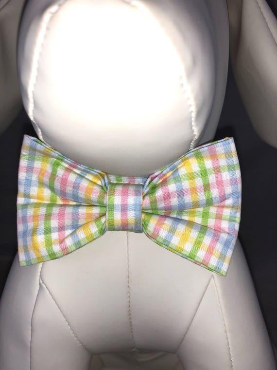 Printemps vert Pastel, rose, bleu et jaune à carreaux cravates et colliers pour chiens, Free ship USA.