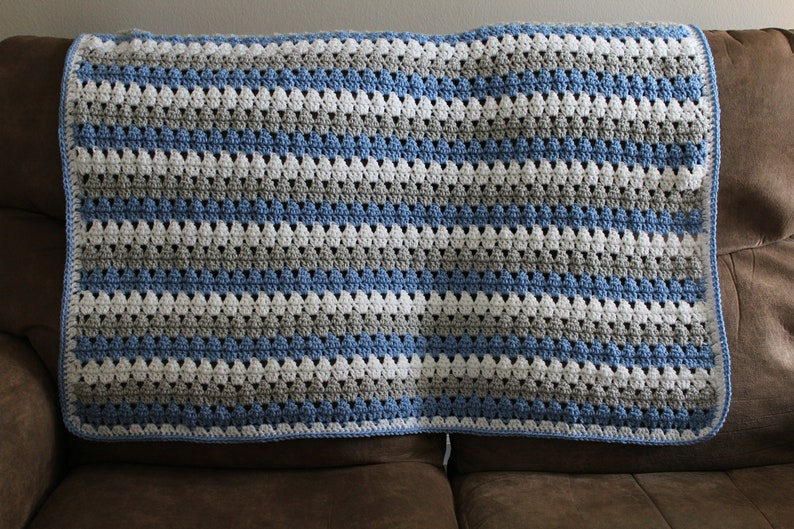 Gray and White Baby Blanket in Blue