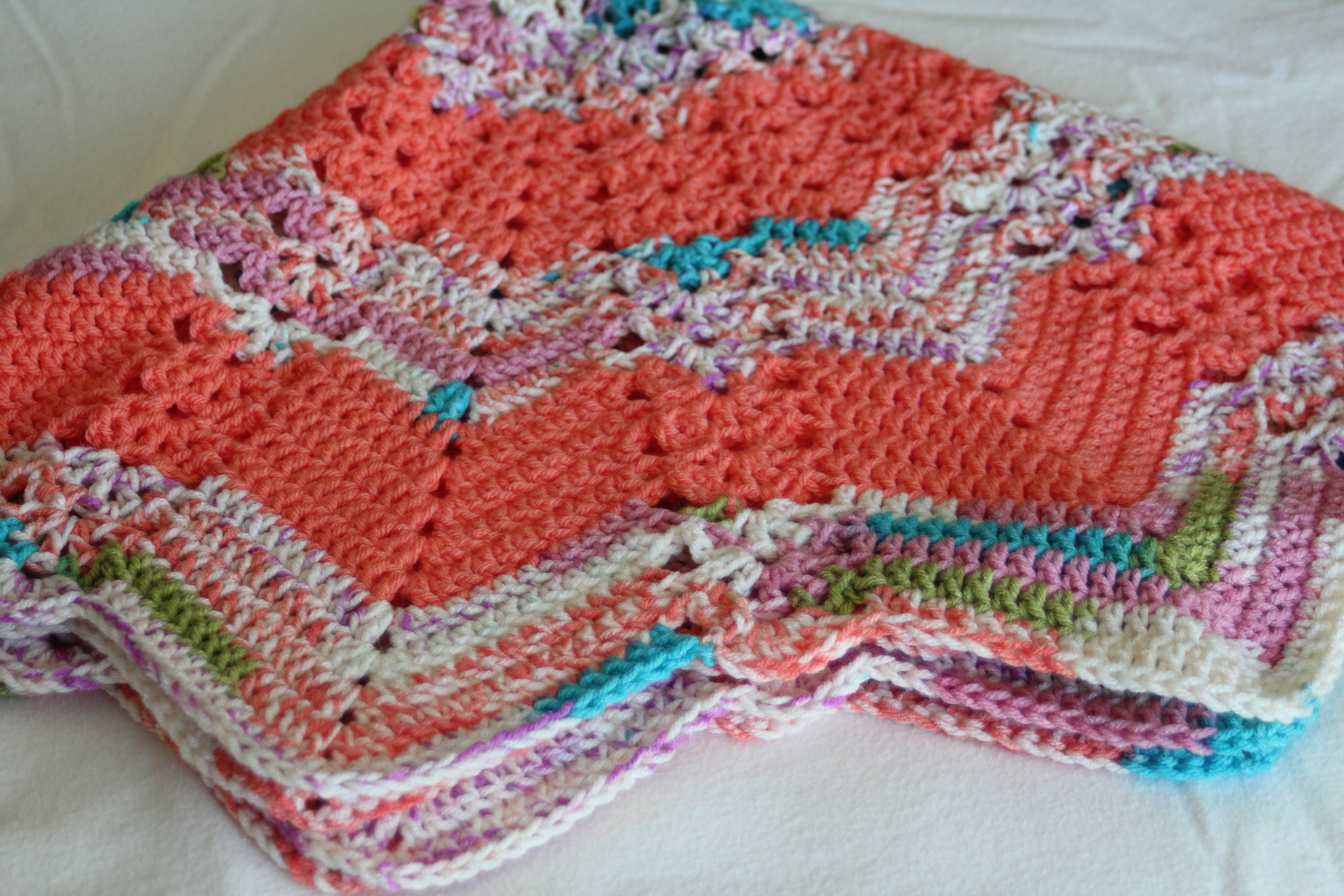 Baby Blanket 38 Crochet Round Ripple With Lace Column Etsy