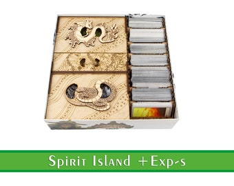 Spirit Island Organizer + All Expansions   Wooden insert for Spirit Island board game   Storage Solution for Spirit Island Jagged Earth Exp