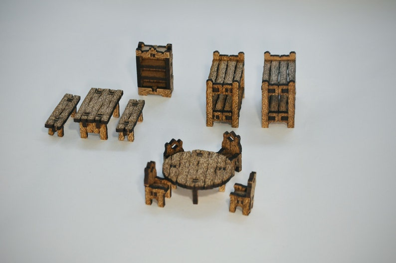 Furniture Set - Fantasy Terrain | 28mm Scale | Dungeon Terrain | RPG |  Dungeons & Dragons