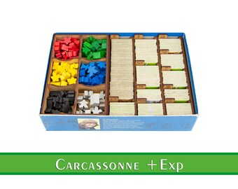 Carcassonne organizer | Wood insert for Carcassonne + expansions board game | Storage solution | Boardgame insert | Boardgame organizer
