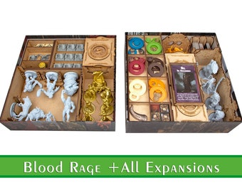 Blood Rage organizer + All Expansions  Wood insert for Blood Rage board game   Storage solution   Boardgame insert   Boardgame organizer