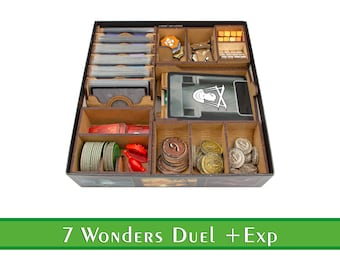 7 Wonders Duel organizer + Agora and Pantheon | Wood insert for 7 Wonders Duel | Storage solution | Boardgame insert | Boardgame organizer