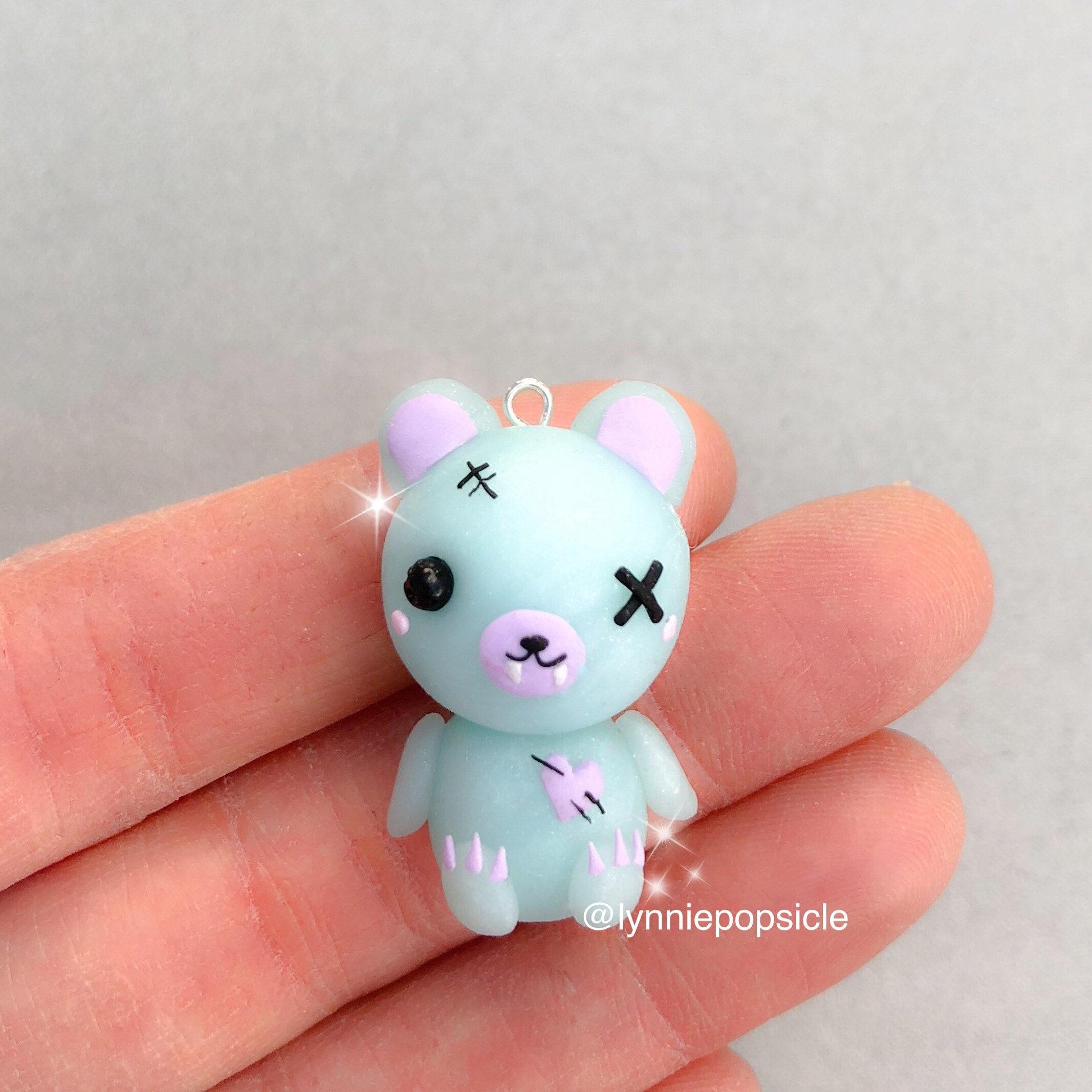 spooky kawaii bear charm polymer clay charms bear gifts   etsy