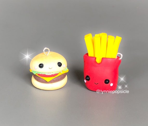Kawaii burger and chips charms bff charms food jewellery polymer clay charms burger and chips gifts burger and chips lover