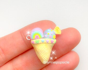 kawaii ice cream cone charm, cute rainbow polymer clay charms, kawaii charms, Keychain, necklace keyring stitch marker planner charm