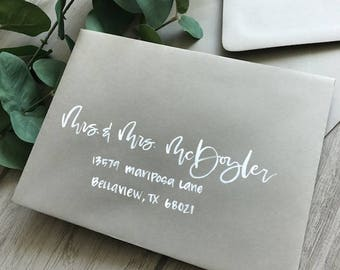 Watercolor envelopes etsy gray envelopes white watercolor hand lettering reheart Images