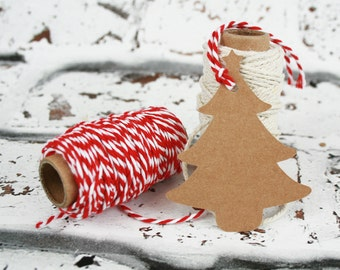 Handmade Kraft Christmas Gift Tags - Present Labels - Pack of 25 - Wedding Gift Tags - Brown Gift Tags