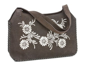 Genuine Suede Shoulder Bag Handbag Purse with Flower Stitches Embroidery