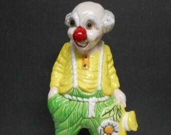 Vintage Large Ceramic Hobo Daisy Flower Circus Clown