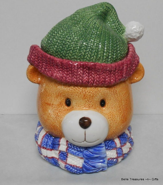 Vintage Teddy Bear Head Ceramic Cookie Jar