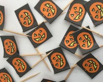 vintage halloween paper jack o lantern flag toothpicks trick or treat lot of 140 in box