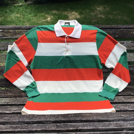 Vintage Rugby Shirt, Long Sleeve Polo, Knit Polo S