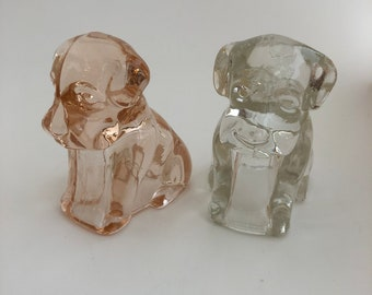 Vintage Glass Dog Puppy Candy Containers Two 2 Figurines Pink and Clear